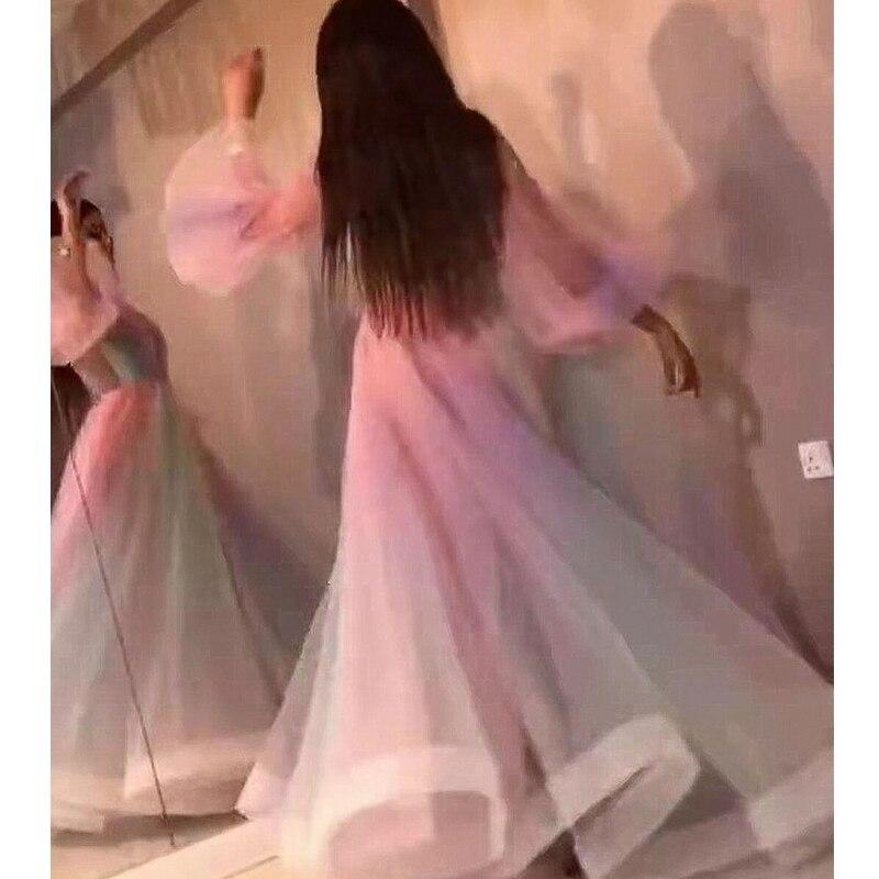 Mandylandy Dress Summer Fashion Puff Sleeve V-neck High Waist Pleated Dress Women's Casual Mesh Rainbow Color Stitching Dress