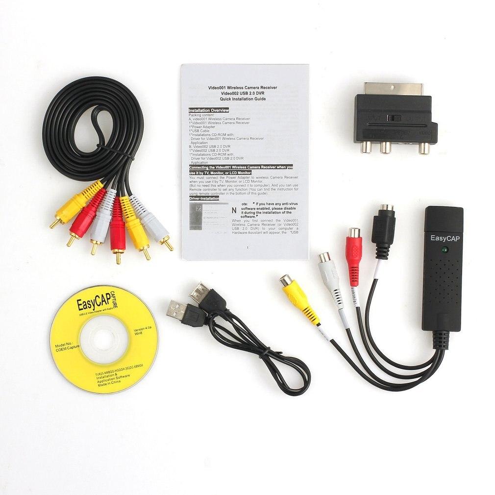 Adaptador de tarjeta de captura de vídeo de Audio USB2.0 portátil fácil de usar TV DVD VHS DVR Adaptador convertidor de captura de vídeo para Win7/8/XP/Vista