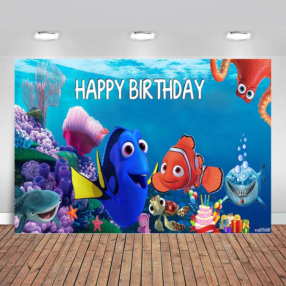 Unter Die Meer Geburtstag Party Kulissen Dory Nemo Korallen Blasen Party Fotografische Hintergründe 7x5ft