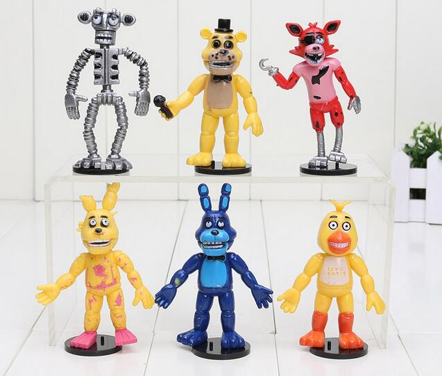 6 unids/set 9cm cinco noches en la figura de acción de PVC de juguete Foxy Gold luces