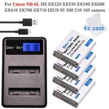 Batería NB-6LH NB 6L + cargador tipo C, puerto para cámara Canon PowerShot D10 D20 D30 S95 SX260 SX280 SX540 SX700 SX710 HS