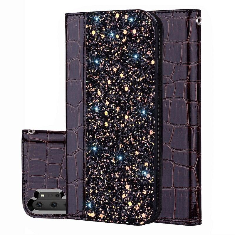 Magnetic Crocodile Haut Glitter Flip Fall Für Samsung Galaxy S8 S9 S10 5G S10e J4 J6 Plus A7 A9 2018 hinweis 9 10 Plus A50 A70 A30