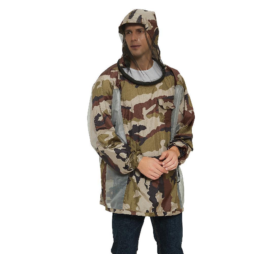 Chaqueta Mounchain para exteriores Anti-mosquito, abrigo de malla con capucha, repelente de mosquitos, ropa de red, Tops rojos de prueba de insectos