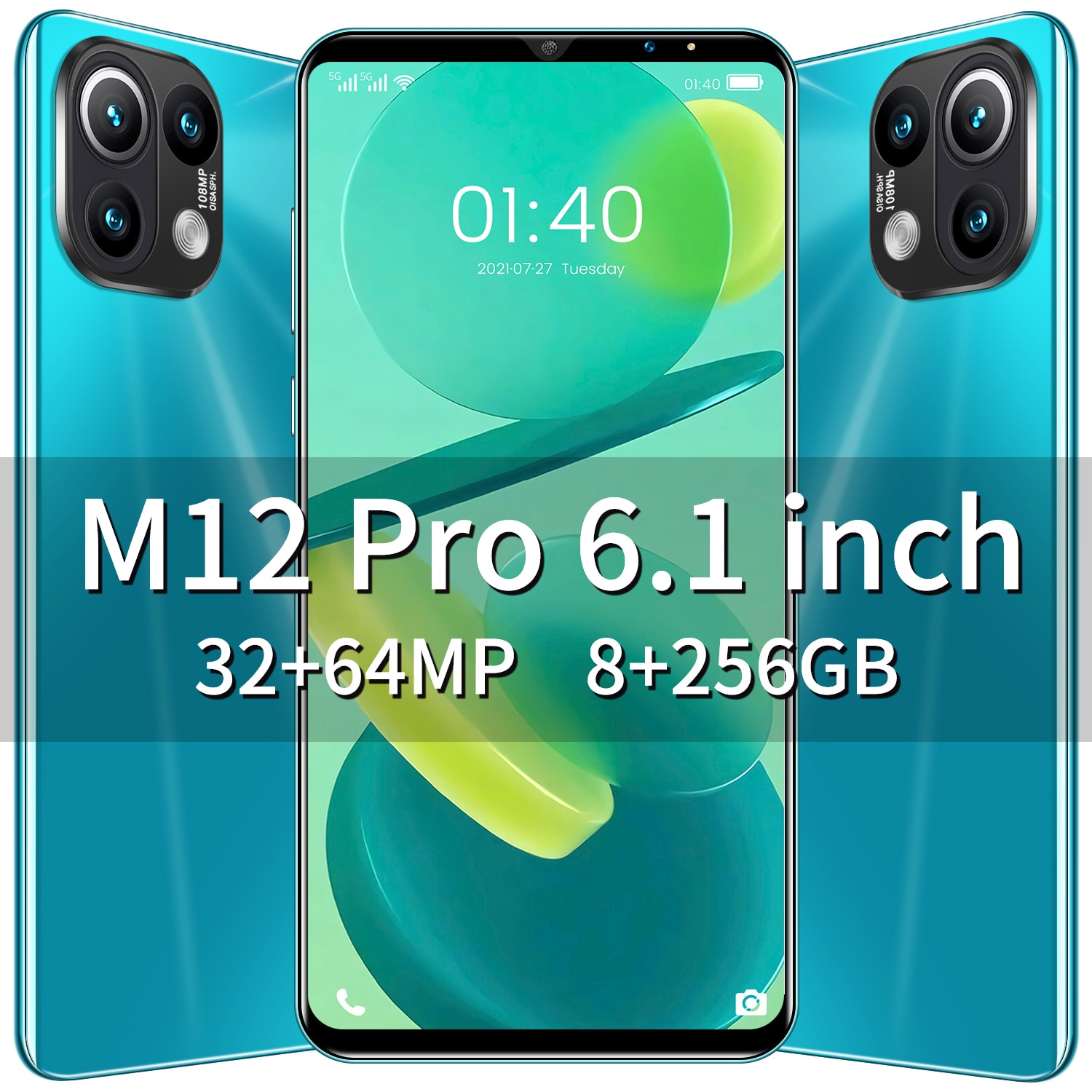 New Arrival M12 Pro 6.1 Inch 8+256G 32MP+64MP Smartphone 5G Deca Core MT6889 1440*3200 6000MAH Android 11 Face ID Dual SIM