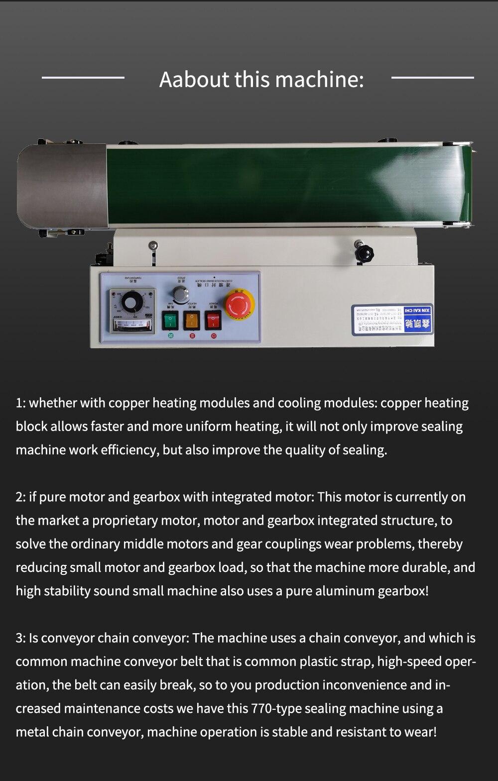 FR-770 Continuous Automatic film sealing machine aluminum foil bag edge sealer food packaging machine 220V/110V 80W 1PC enlarge