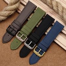 18mm 20mm 22mm 24mm Nylon Leather Wrist Band Men Women Universal Waterproof Canvas Bracelet Belt for