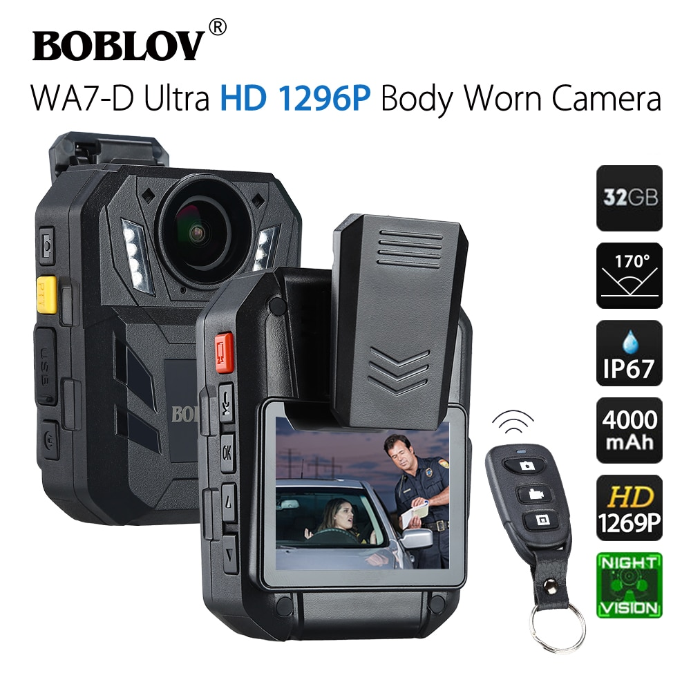 BOBLOV WA7-D 32GB полицейская камера Ambarella A7 4000mAh батарея носимая мини-комкордер DVR HD 1296P с пультом дистанционного управления