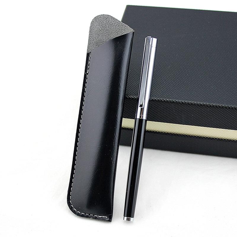 luxury Matte Black Fountain Pen beautiful Metal Ink Pen Writing Gift Pen Iridium Fine 0.38mm for Business Office pencil bag