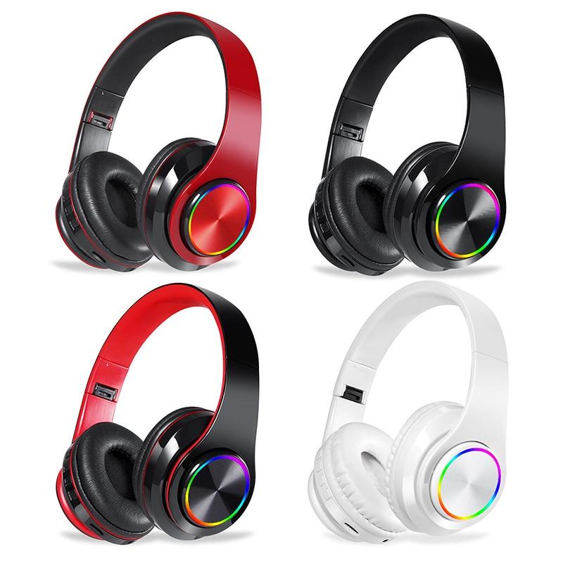 Luz colorida Sem Fio Bluetooth Headsets Gaming Sports Apoio TF Cartão de Fones De Ouvido Fones de Ouvido Estéreo de ALTA FIDELIDADE de Som de Redução de Ruído