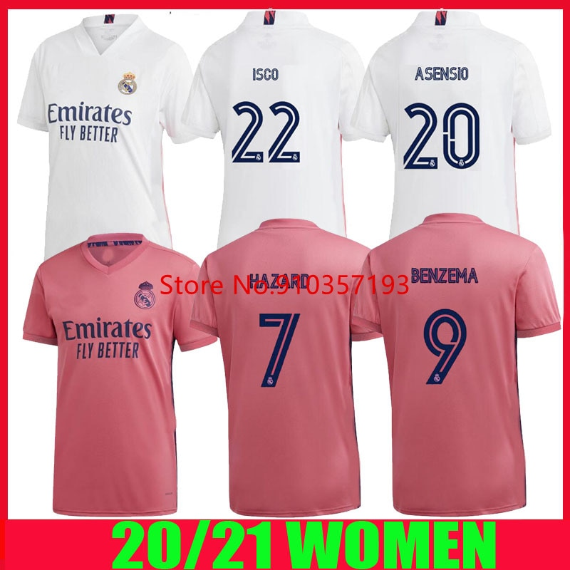 20 21 perigo feminino casa 2020 madrid camisa de futebol asensio vinicus jr real 2021 fora sergio ramos benzema camisa mujer