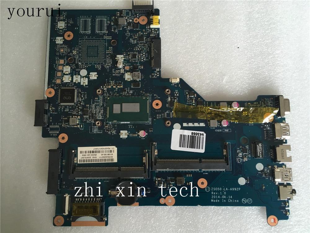 Yourui ل HP بافيليون 15-R اللوحة الأم ZS050 LA-A992P اللوحة الرئيسية مع i3-4005u وحدة المعالجة المركزية DDR3 اختبار موافق