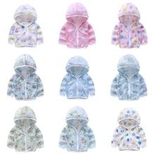 2021 New Baby Kids Coat Hooded Jacket Sunscreen Jacket 1-8T Boys Girls Long Sleeved Summer Outwear B