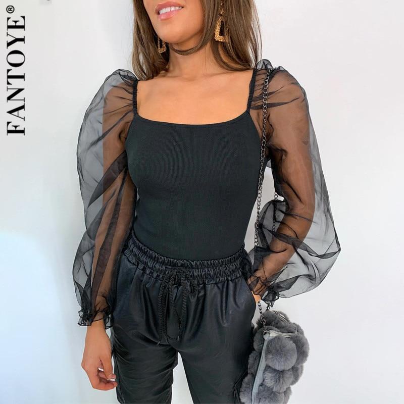 FANTOYE nuevo Puff hombro malla Casual Camisetas Mujer Patchwork manga larga negro camisas señoras moda fiesta Jersey Club camisetas