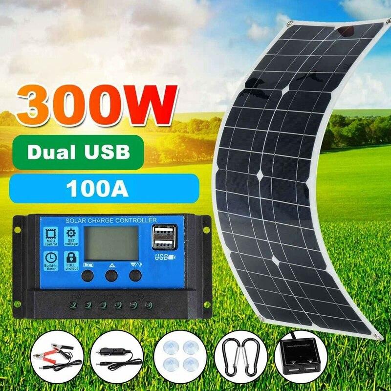 300 واط مجموعة اللوحة الشمسية المحمولة الطاقة RV مونوكريستال قارب بطارية مرنة 12 فولت
