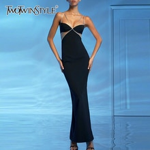 TWOTWINSTYLE Sexy Party Black Spaghetti Strap Dress For Women V Neck Sleeveless Slim High Waist Dresses Female Summer 2020 New