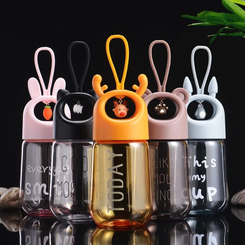 Kids Portable Water Bottle Plastic Drinking My Bottles Cute Cartoon Animal Pendant This My Cup 480ml