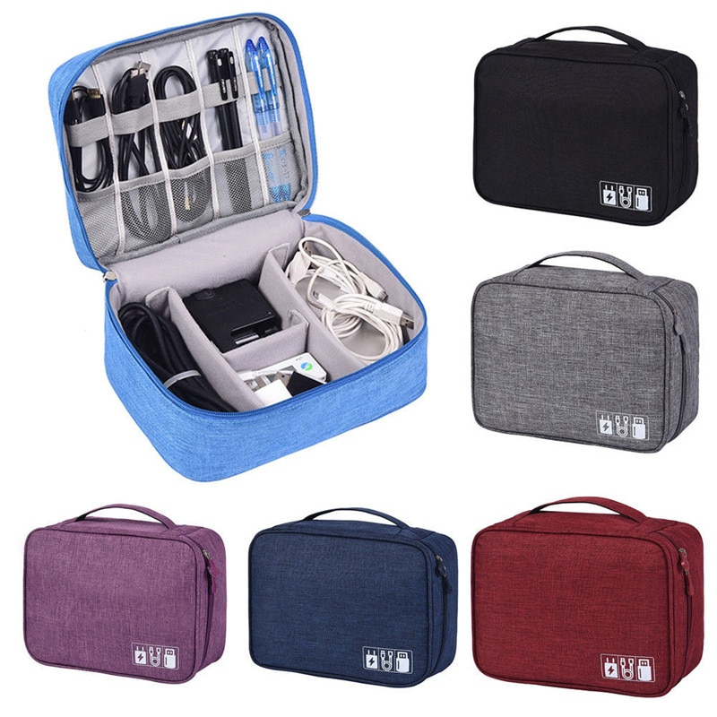 A Electronic Accessories Cable USB Drive Organizer Bag Portable Travel Insert Case Durable Travel Storage Bags