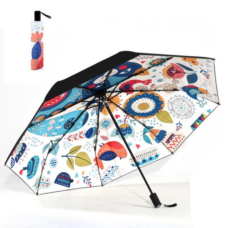 3 Folding Female Umbrella Rain Women Folding Parasol Anti-UV Sun Windproof Folding Outdoor Men girl Travel Umbrellas Gift