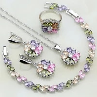 925 sterling silver jewelry multicolor stones cubic zirconia jewelry sets for women earringspendantnecklaceringbracelet