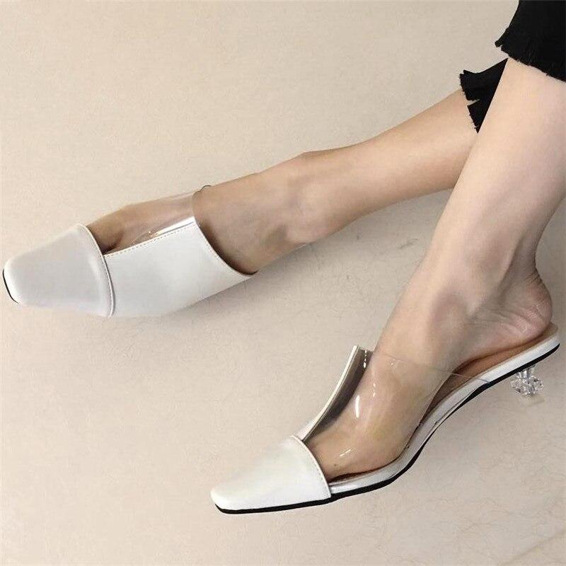 Novo salto fino mules senhoras fechar toe sandálias mulher slides dedo do pé apontado mulas sapatos feminino 2019 chinelos de salto claro pvc e624