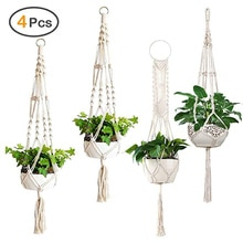 4 stücke Gartenbau Blumentopf Net Tasche Hand-woven Baumwolle Seil Hängenden Korb Anlage Hängenden Korb Blumentopf Hängen korb
