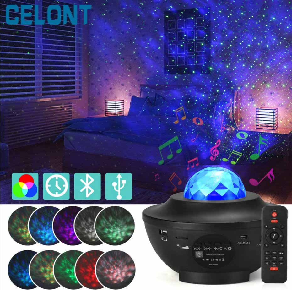 LED Star Ocean Wave Projector Night Light Galaxy Starry Sky Projector Night Lamp With Music Bluetooth Speaker For Childrens