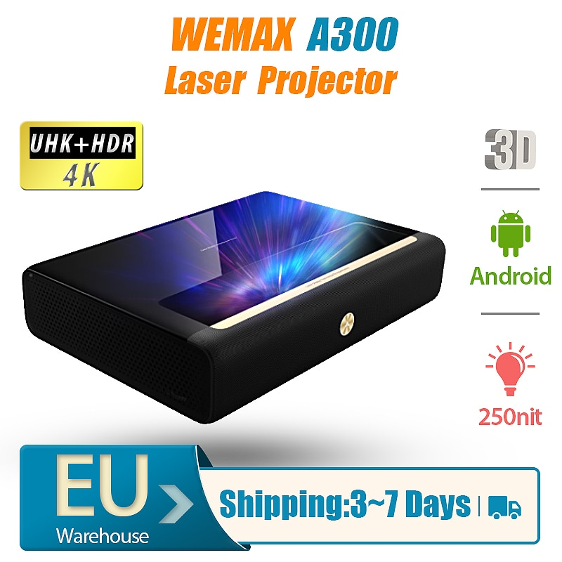WEMAX A300 Laser Projector 4K 3840 x 2160 3D Android Beamer Full HD Ultra Short Throw 9000Lumen 250nit 4000:1 HDR Home
