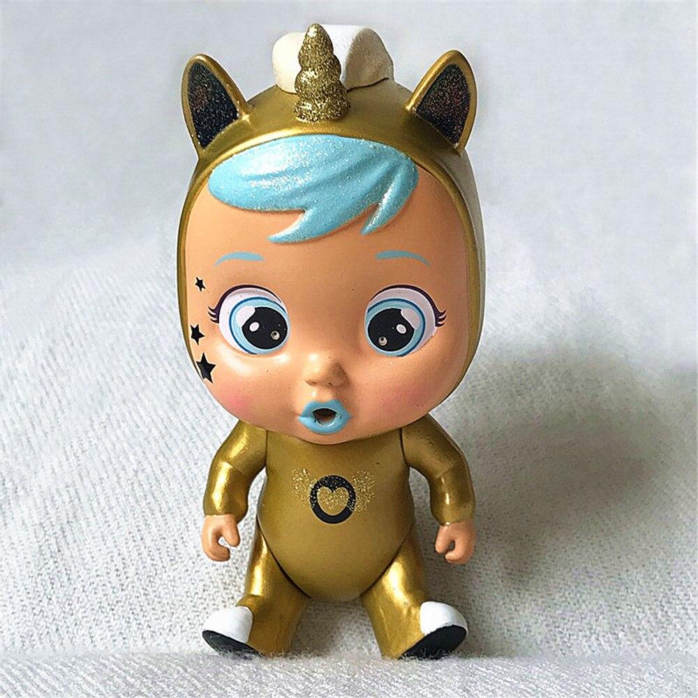 Muñecos originales de bebé Cry Doll, edición limitada rara, dorado unicornio
