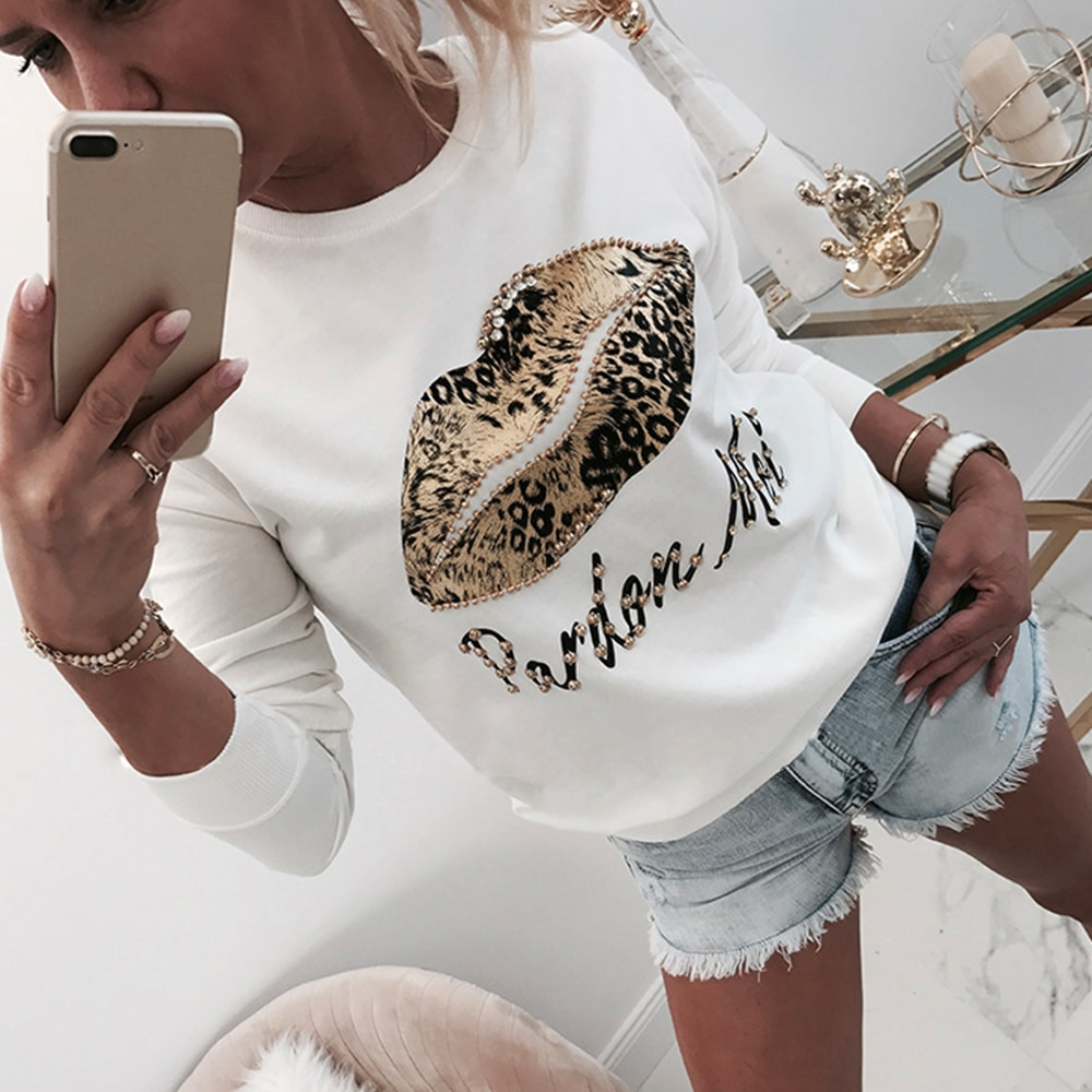 Женская блузка с длинным рукавом и топы, осенняя белая женская блузка с принтом губ и буквами для женщин, топы, рубашки с круглым вырезом и бисером D30