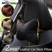 car neck pillow leather auto pillows cloud silk breathable neck protection universal car headrest pillow car accessories
