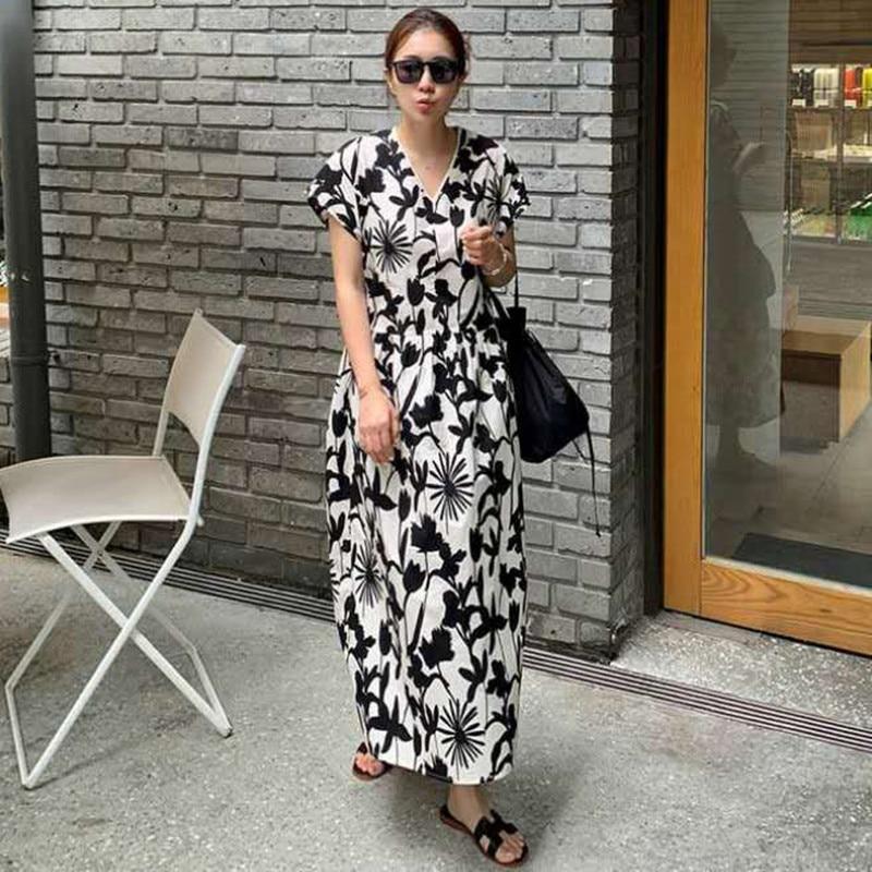 فستان فضفاض بطبعة زهور ، جديد ، ياقة على شكل v ، أكمام قصيرة ، نمط كوري غير رسمي ، صيف 2021