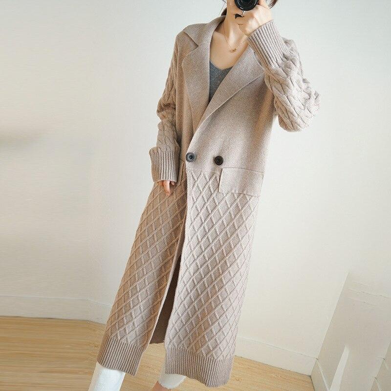 Pure Wool Long Knit Coat Women Fashion Long Wool Sweater Coat Loose Wool Coat Women Long Sweater Coat 100% Natural Wool Warm enlarge