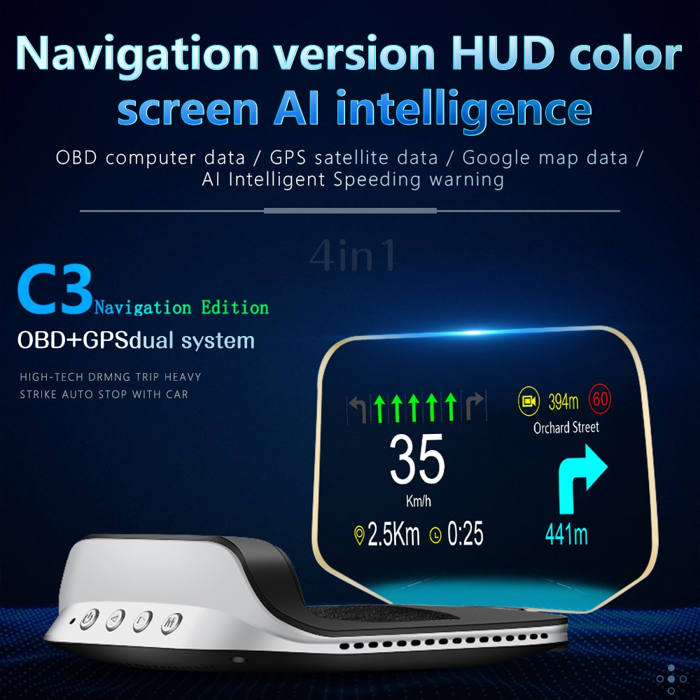 HUD Car Head up Display with OBD HD GPS Navigation Bluetooth Windshield Speed Projector Security Alarm C3