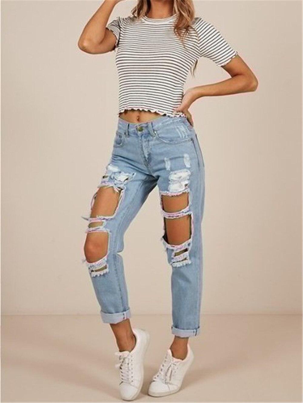 Summer women's jeans mid-waist women'sjeans casual women's jeans ripped jeans slim fashion women's trousers cuffed women's jeans