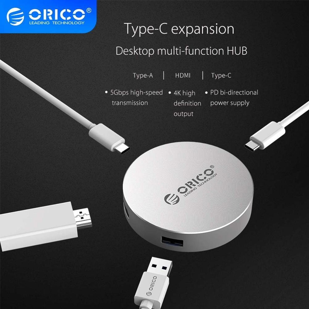 محطات إرساء الكمبيوتر المحمول ORICO DBH2 Type-C إلى HDMI-متوافق/Type-C/Type-A USB3.0 Hub لـ Windows XP و Mac OS و Linux -Silver