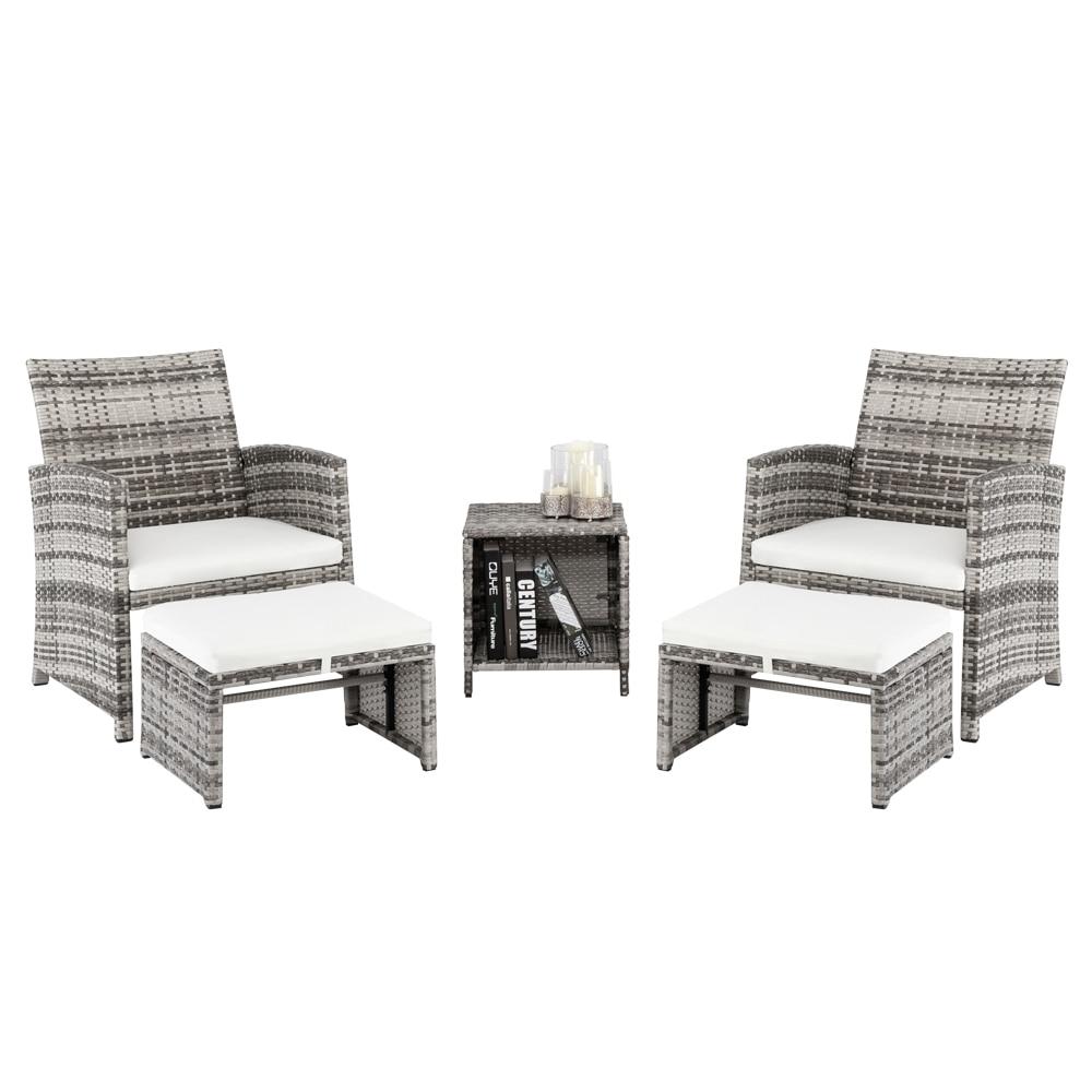 5 قطعة 2 الكراسي 2 مسند القدم 1 طاولة القهوة مزيج أريكة عالية الجودة البولي ايثيلين الروطان والحديد الإطار الباحة الأثاث رمادي التدرج [US-W]
