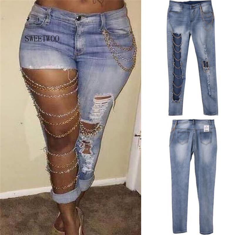 Sexy Women Destroyed Jeans Holes Chain Patchwork Skinny Bodycon Jeans Pants Ripped Boyfriend Pants Denim Vintage Straight Jeans five pockets destroyed skinny jeans