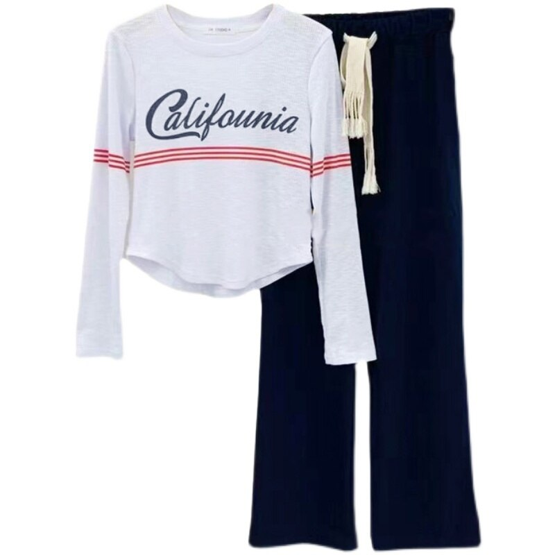 Women's Sets Oversize  Women's  Autumn Knitted Letter Long Sleeved Top Loose Leisure Wide Leg Pants