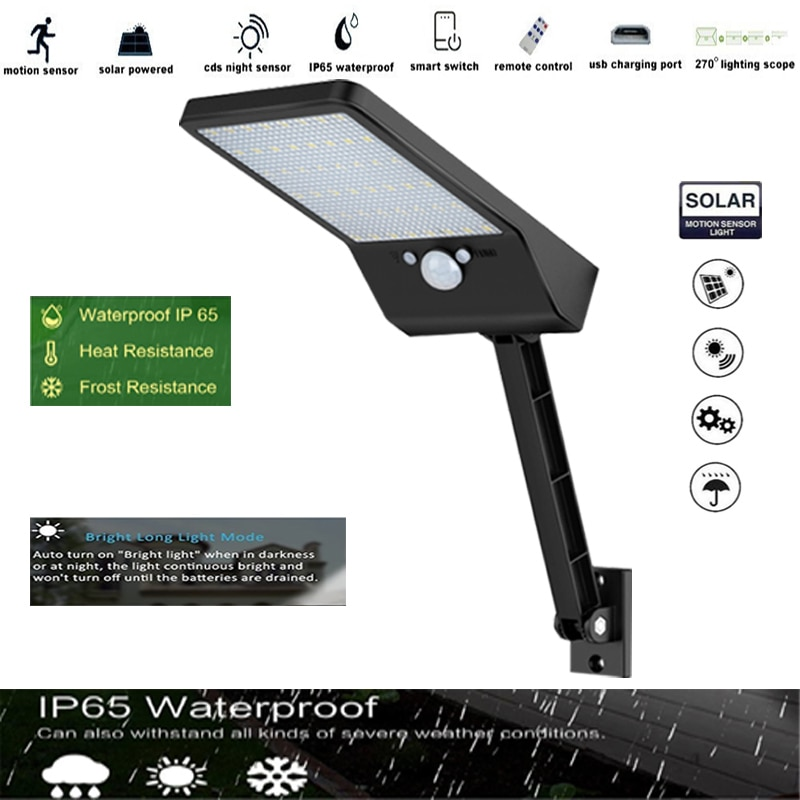 Newest 48 LED Solar Light Outdoor Wall Sconces with rotable Pole for Barn Porch Garage spotl Waterpr