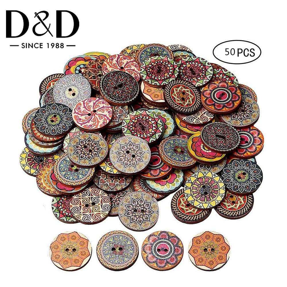 50 Stuks Vintage Houten Knoppen 2 Gaten 15/20/25Mm Gemengde Knoppen Voor Kleding Diy Knoppen Decoratieve kleding Ambacht Naaien Gereedschap