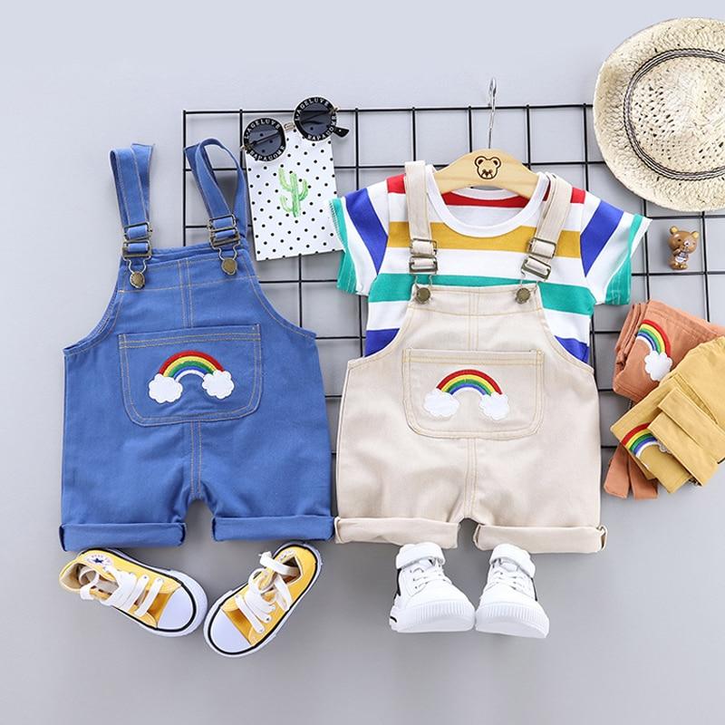 Летняя одежда для маленьких мальчиков и девочек спортивная футболка + шорты на лямках, комплекты одежды для новорожденных мальчиков и девочек комплекты для дня рождения костюм для детей