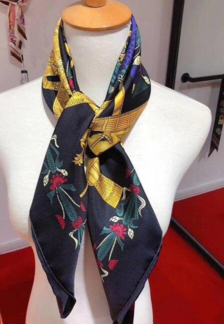 2020 nueva llegada de primavera otoño diseño clásico bufanda de seda pura 100% sarga rollo hecho a mano 90*90 cm chal envoltura para mujer dama regalo