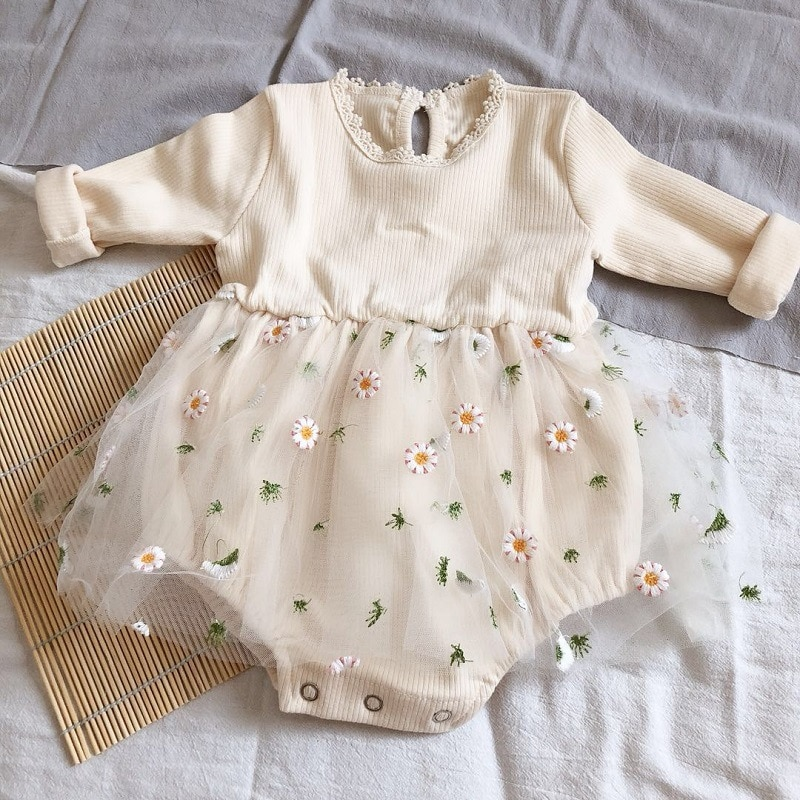 AliExpress - MILANCEL baby bodysuits little dasiy baby girls one piece long sleeve tutu skirt baby outfit