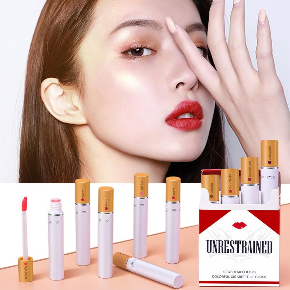Creative Cigarette Lip Gloss Set 4 Colors Matte Long Lasting Waterproof Lip Stick Tube Nude Red Lips Makeup