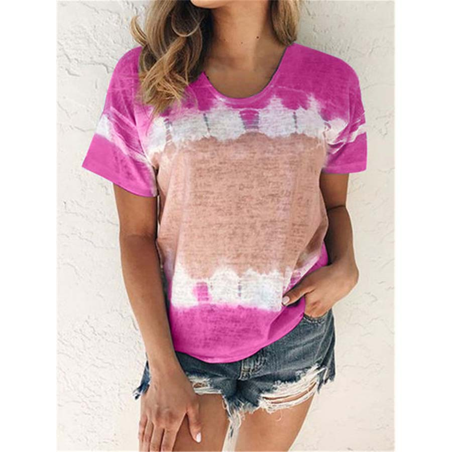 DIOROBBEN 2020 new summer tops Gradient Color Print tie-dye Shirt Fashion women casual loose plus size clothes