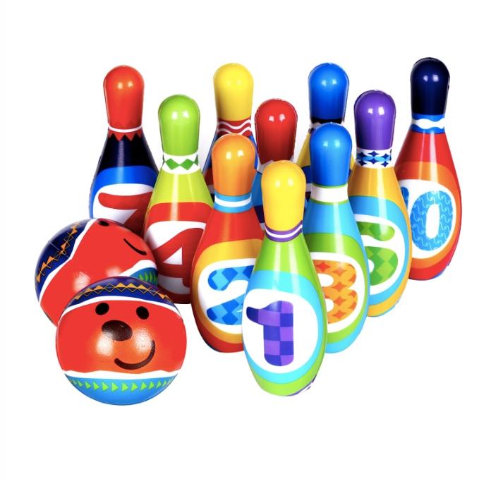 Juego de bolos para niños, pelota de juguete sólida para niños, juguetes para niños para interiores y exteriores, juguetes deportivos para bebés interactivos entre padres e hijos