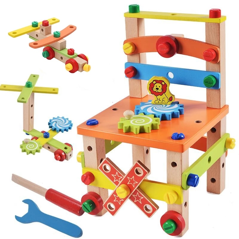Wooden Assembling Chair Montessori Toys Baby Educational Wood Toy Preschool Multifunctional Variety Nut Combination Chair Tool new wooden baby toys montessori wood fractional frame learning educational preschool training baby gifts