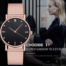 Fashion Women Watches Ultra Thin Stainless Steel Mesh Belt Quartz Wrist Watch Ladies Dress Watch Cla