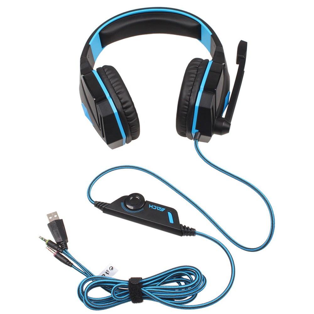 Cada auricular para juegos G4000, auriculares con cable para jugadores, auriculares estéreo con sonido, micrófono LED azul claro para ordenador, PC y Gamer