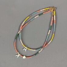 Collana di perle di cristallo colorato della boemia collana di lettere personalizzate di moda gioielli personalizzati per amici 2020 nuovo bijoux femme